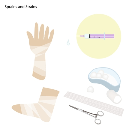Medical Concept, Illustration of Sprains and Strains with Medical Treatment, Injection and Wrapped with Bandage. Vector