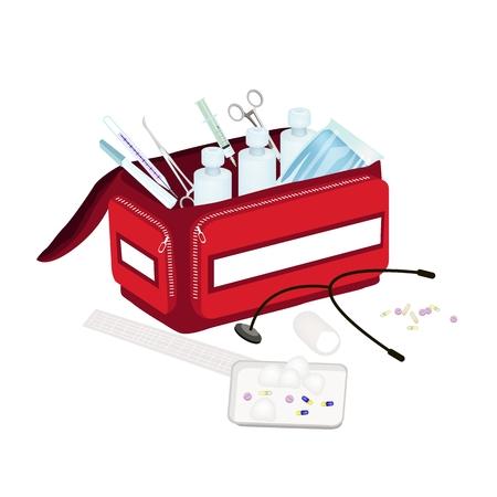 first aid kit: Concepto m�dico, Ilustraci�n de Abrir Primero Aid Box Lleno de Suministros M�dicos para Emergencias aislado en un fondo blanco.