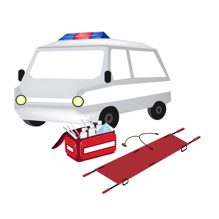 medical supplies: Medical Concept, Illustration of Ambulance and First Aid Box Filled with Medical Supplies for Emergencies Isolated on A White Background. Illustration