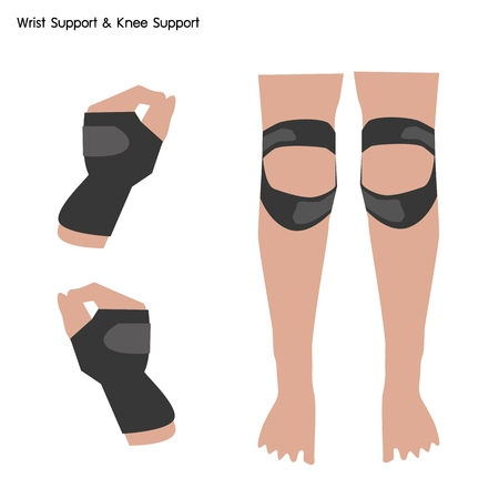 carpol: Medical Concept, Illustration of Wrist Support and Knee Support Used to Treat Spine Problems. Illustration