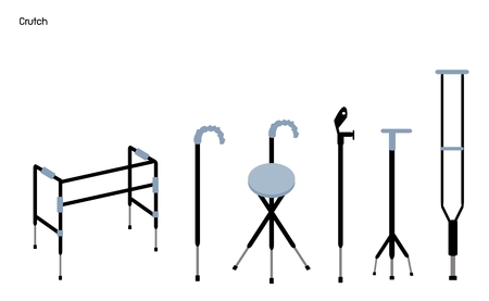 sprain: Medical Concept, Illustration Collection of Crutches and Walkers Used to Assist A Person in Walking for Support and Security.