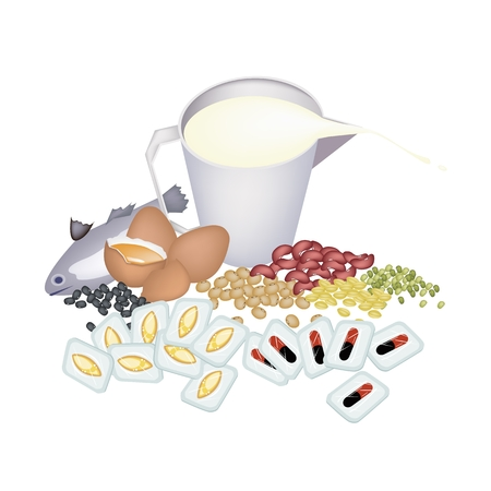 vitamine: Medical Concept, Cod Liver Oil Capsules and Vitamine Capsules with Fish, Egg, Milk and Beans. Illustration