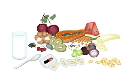rambutan: Medical Concept, Vitamine Capsules with Apple, Cherries, Blackberries, Kiwi, Banana, Papaya, Rambutan, Mangosteen and Rose Apple. Illustration