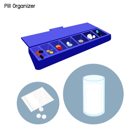 vitamin pills: Medical Concept, Illustration of Pharmacy Bag with Pill Organizer, Pill Container or Pill Box Isolated on A White Background.