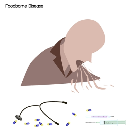 gastroenteritis: Medical Concept, Illustration of Foodborne Illness, Foodborne Disease or Food Poisoning with Disease Treatment.