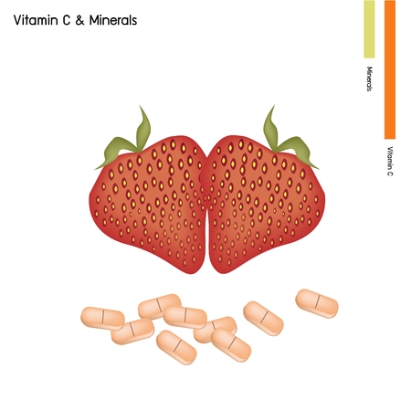 nutrient: Healthcare Concept, Illustration of Strawberries with Vitamin C Tablet, Essential Nutrient for Lift. Illustration