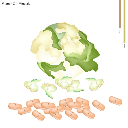 brassica: Healthcare Concept, Illustration of Fresh Cauliflower Vitamin C and Minerals Tablet, Essential Nutrient for Life.