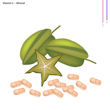 nutrient: Healthcare Concept, Illustration of Carambola or Starfruit with Vitamin C Tablet, Essential Nutrient for Life. Illustration