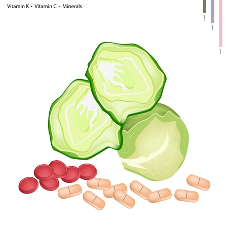 nutrient: Healthcare Concept, Illustration of Cabbage with Vitamin K, Vitamin C and Minerals Tablet, Essential Nutrient for Life.
