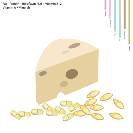 grated cheese: Healthcare Concept, Illustration of Milk with Fat, Protein, Riboflavin or B2, Vitamin B12, Vitamin A and Minerals, Essential Nutrient for Life.