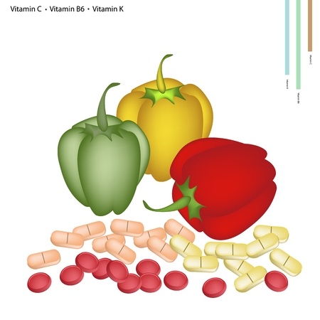 peppers: Healthcare Concept, Illustration of Bell Peppers with Vitamin C, Vitamin B6 and Vitamin K Tablet, Essential Nutrient for Life.