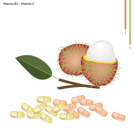 rambutan: Healthcare Concept, Illustration of Fresh Rambutan with Vitamin B3 and Vitamin C Tablet, Essential Nutrient for Life.