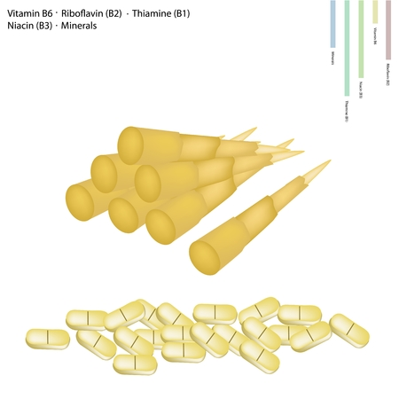 b1: Healthcare Concept, Illustration of Bamboo Shoot with Vitamin B6, Riboflavin (B2), Thiamine (B1), Niacin (B3) and Minerals Tablet, Essential Nutrient for Life.