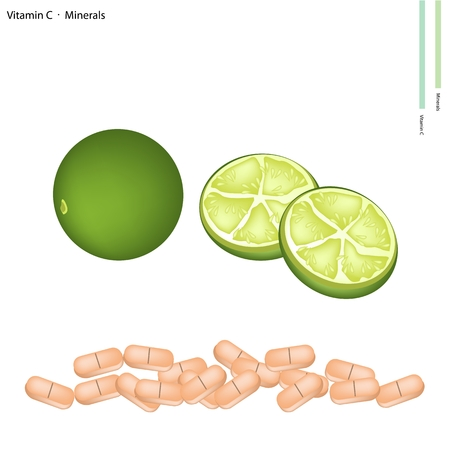 nutrient: Healthcare Concept, Illustration of Fresh Limes with Vitamin C and Minerals Tablet, Essential Nutrient for Life.