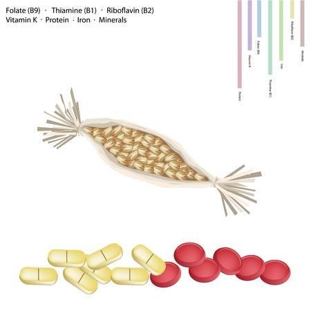 Gesundheits-Konzept, fermentierte Sojabohnen Natto mit Folsäure B9, Thiamin B1, B2 Riboflavin, Vitamin K, Protein, Eisen, Mineralien Tablet, wichtiger Nährstoff für das Leben. Standard-Bild - 41333708