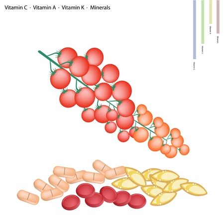 nutrient: Healthcare Concept, Illustration of Ripe Cherry Tomatos with Vitamin C, Vitamin A and Vitamin K Tablet, Essential Nutrient for Lift.