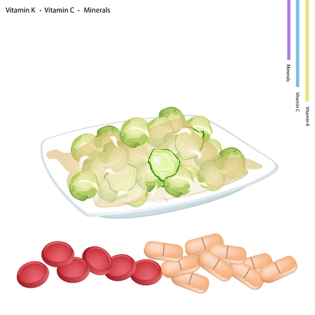 stir: Healthcare Concept, Illustration of Stir Fried Brussels Sprout with Vitamin K, Vitamin C and Minerals Tablet, Essential Nutrient for Life.