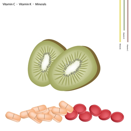 preventative: Healthcare Concept, Illustration of Ripe Kiwi Fruits with Vitamin C, K and Minerals Tablet, Essential Nutrient for Lift. Illustration