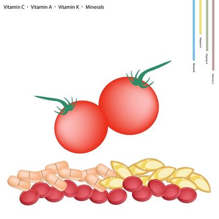 tomate cherry: Healthcare Concept Ilustración de maduras Rojo Tomates Cherry con Vitamina C La vitamina A y vitamina K Tablet nutriente esencial para el Levante. Vectores