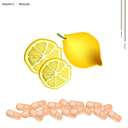 nutrient: Healthcare Concept Illustration of Fresh Lemon with Vitamin C Tablet Essential Nutrient for Life.