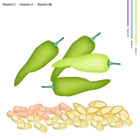 nutrient: Healthcare Concept Illustration of Green Sweet Pepper with Vitamin C A and B6 Tablet Essential Nutrient for Life.