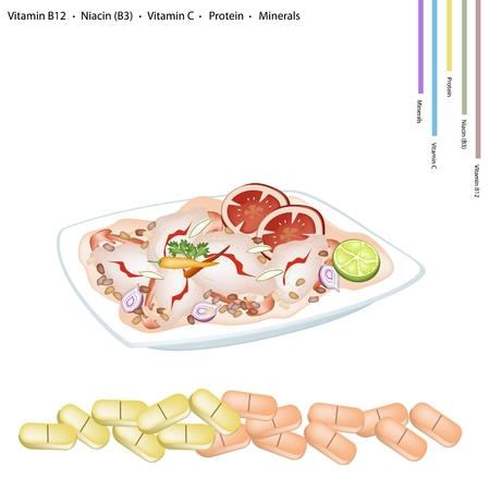 agrio: Concepto de salud tailand�s delicioso ensalada picante de camarones y Sour con Vitamina B12 La niacina o vitamina B3 Prote�na C y Minerales Tablet nutriente esencial para la vida.