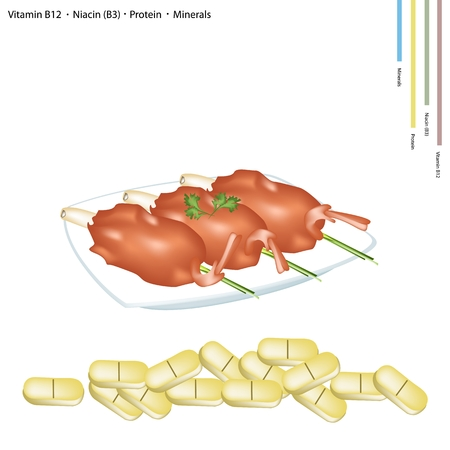 deep fried: Healthcare Concept Illustration of Deep Fried Shrimps on Lemon Grass with Vitamin B12 Niacin or B3 Protein and Minerals Tablets Essential Nutrient for Life.