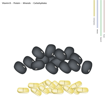 carbohydrates: Healthcare Concept, Illustration of Black Bean with Vitamin B, Protein, Minerals and Carbohydrates Tablet, Essential Nutrient for Lift.