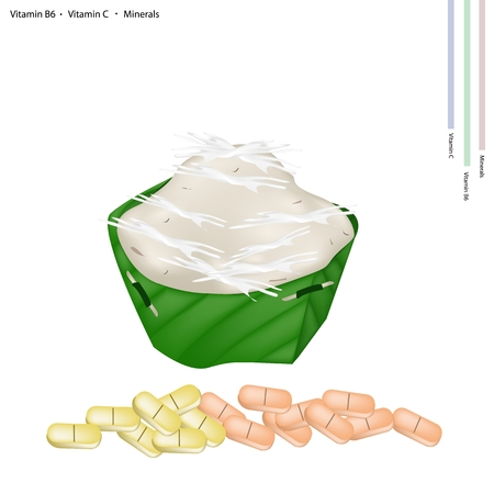 krathong: Healthcare Concept, An Illustration of Kanom Gluay or Banana Pudding with Vitamin B6, Vitamin C and Minerals Tablet, Essential Nutrient for Life.