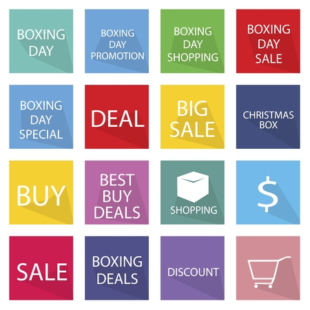 boxing day: Illustration Set of Boxing Day Shopping Label for Start Christmas Shopping Season. Illustration