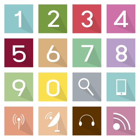 numeric: Illustration Collection of 16 Telecommunication and Numeric Flat Icons.