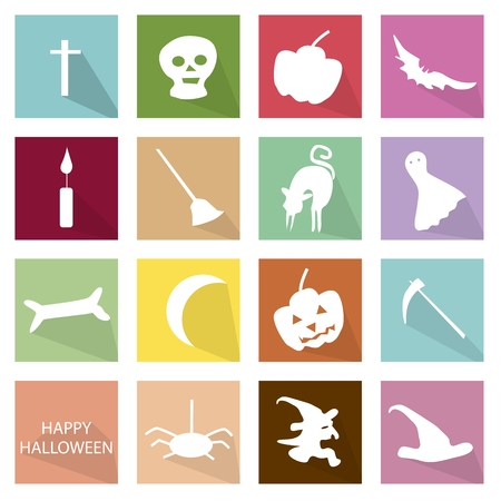 illustration collection: Holidays And Celebrations, Illustration Collection of 16 Happy Halloween Icons for Halloween Celebration.