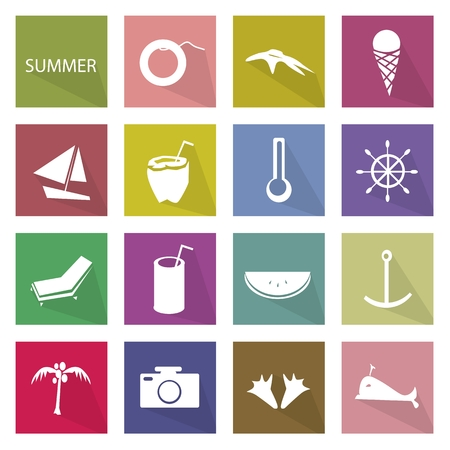 temperate: Illustration Collection of Summer Season Icons, The Hottest of The Four Temperate Seasons.