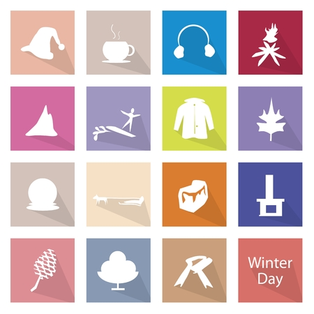 ear muffs: Illustration Collection of Winter Icon Labels, The Coldest Season of The Year.