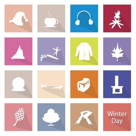 muffs: Illustrazione Raccolta di etichette icone inverno, la stagione pi� fredda dell'anno. Vettoriali