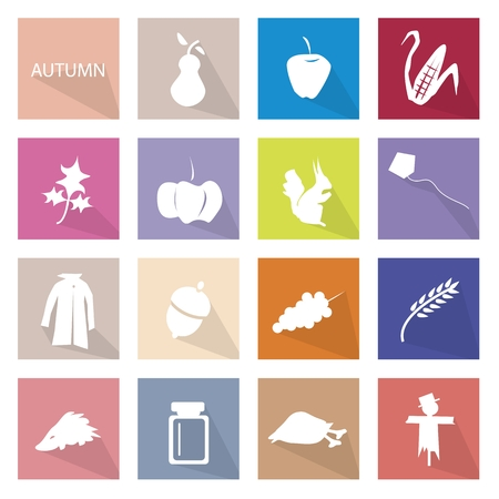 illustration collection: Illustration Collection of Autumn or Fall Icon Labels, The Transition From Summer Into Winter. Illustration