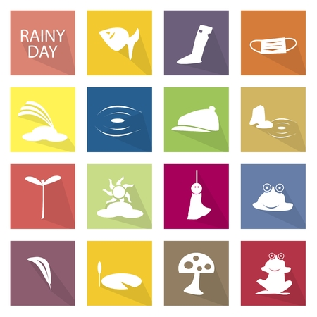 temperate: Illustration Collection of Rainy Season or Monsoon Season Icons, One of The Four Temperate Seasons.