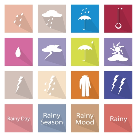 Illustration Collection of Rainy Season or Monsoon Season Icon Labels, One of The Four Temperate Seasons. Illustration