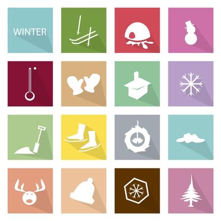 esquimales: Ilustraci�n Colecci�n de pegatinas y etiquetas de invierno, la estaci�n m�s fr�a del a�o.