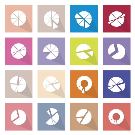 plot: Flat Icons, Illustration Collection of 16 Infographics Elements Business Pie Chart and Graph Icon Labels.