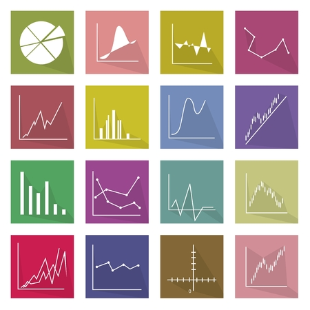 regression: Flat Icons, Illustration Set of 16 Business Graph and Chart Icon Labels.