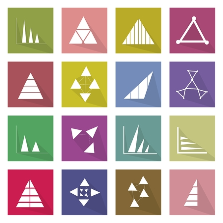 plot: Flat Icons, Illustration Set of 16 Business Graph and Chart Icon Labels.