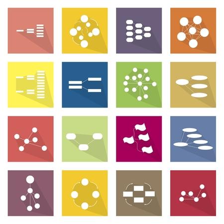 diagrama de arbol: Iconos planos, Ilustración Conjunto de 16 Familia, Gráfico Equipo Árbol Diagrama, Gráfico de Flujo y Gráfico en Etiquetas.