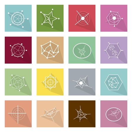 Flat Icons, Illustration Set of 16 Geometry Graph, Spider Connection Graph, Star Graph and Radar Chart Icons.