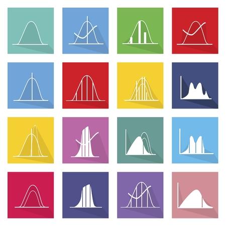 Flat Icons, Illustration Set of 16 Gaussian, Bell or Normal Distribution Curve Icon Labels. Ilustração