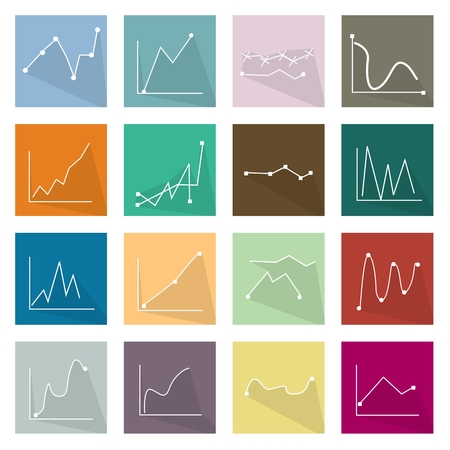 regression: Flat Icons, Illustration Set of 16 Infographics LinearRegression Chart and Graph Icon Labels. Illustration