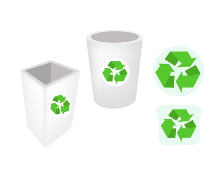cleaning planet: Go Green, Illustration of Recycle Bins or Garbage Cans with Recycle Icons for Save The Earth Concept. Illustration