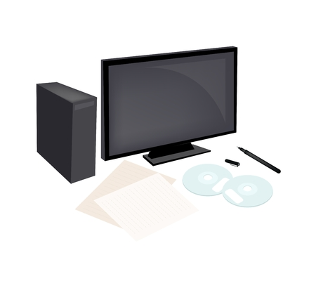 compact disc: Office Supplies, Desktop Computer, Compact Disc with Document and Pen Isolated on White Background. Illustration