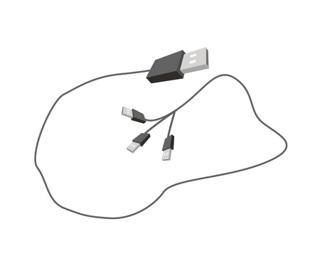serial: Computer and Technology, Computer Cable or Computer Connectors, Black USB Plugs or Universal Serial Bus Cable. Illustration