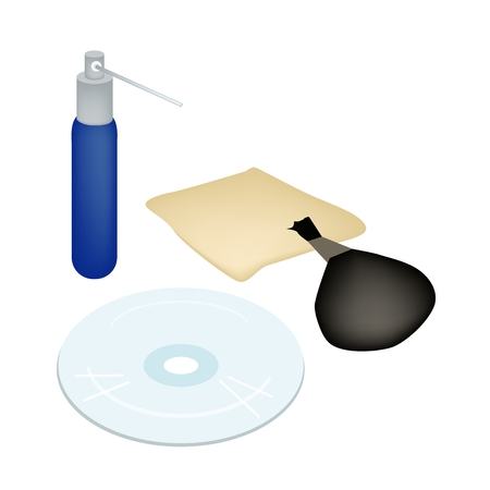 recordable: Computer and Technology, CD or DVD Compact Disc with Cleaning Liquid and Accessories Isolated on White Background. Illustration